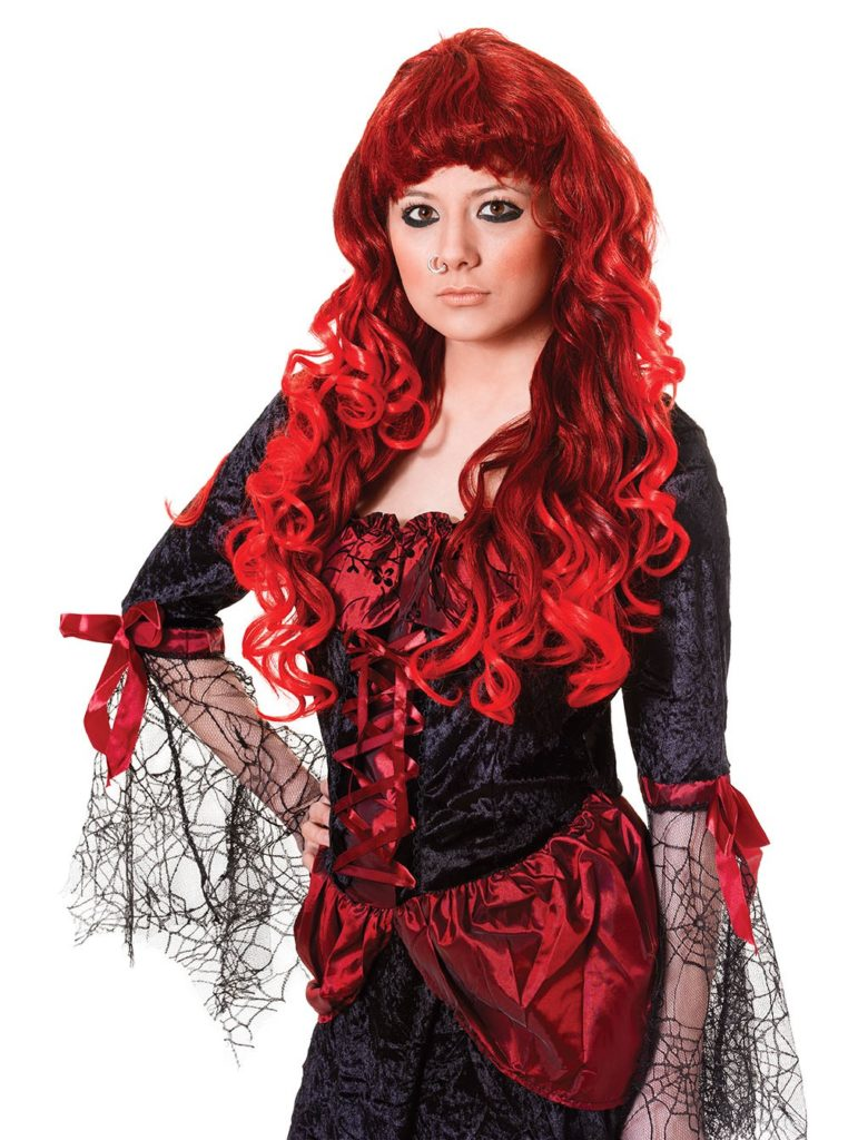Gothic Temptress Red and Black Wig Long and Curly