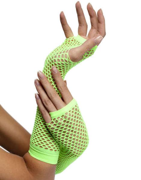 Neon-Yellow-Netted-Fingerless-Gloves
