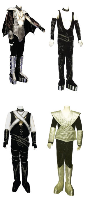 All 4 Kiss Costumes Glam Rock Space Warriors Group Fancy Dress