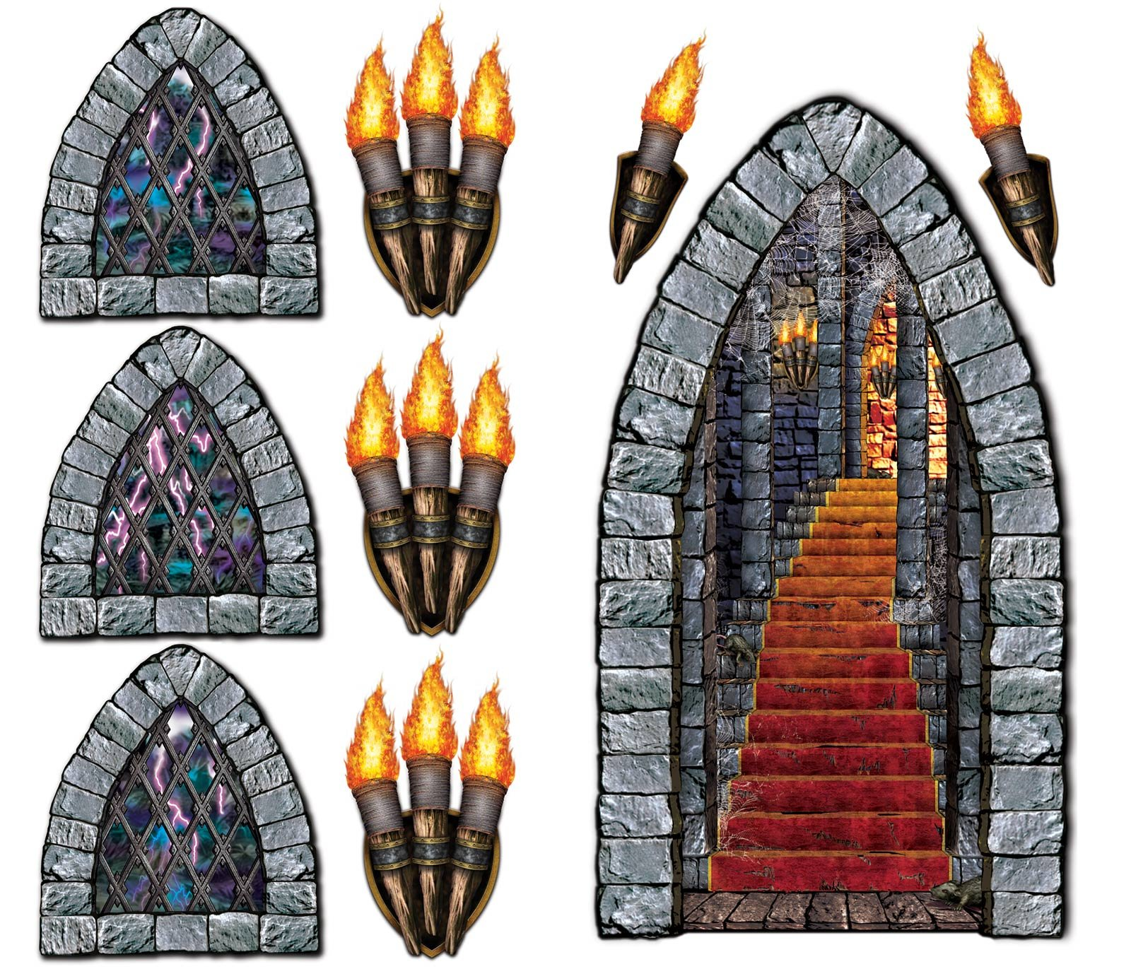 Stone-Stairway-&-Torches-Decoration-Scene-Setter