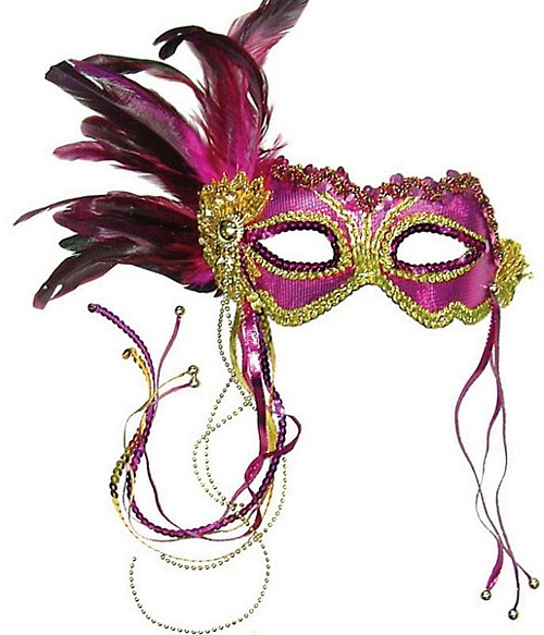Pink & Gold Metallic Eye Mask with Side Feathers