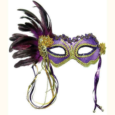 Purple & Gold Metallic Eye Mask with Side Feathers