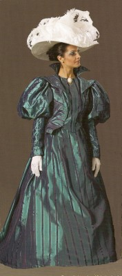 Blue green shot silk Victorian dress Set Size 12-14