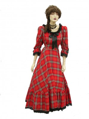 Victorian-Red-and-Black-Checked-Dress
