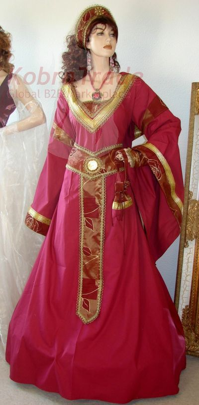 Wine-burgundy-German-medieval-dress