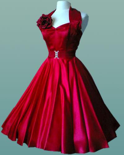 Red-Satin-Halterneck-50's-Dress