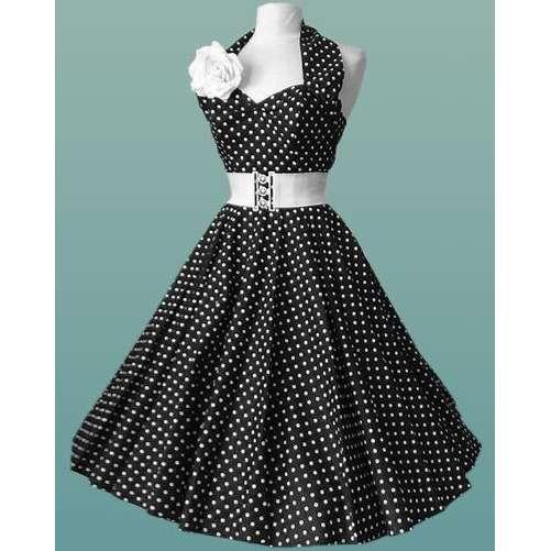Black-&-white-Polka-Dot-halterneck-50's-Dress