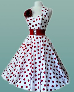 White-with-Red-Polka-Dot-50's-Dress-M-L