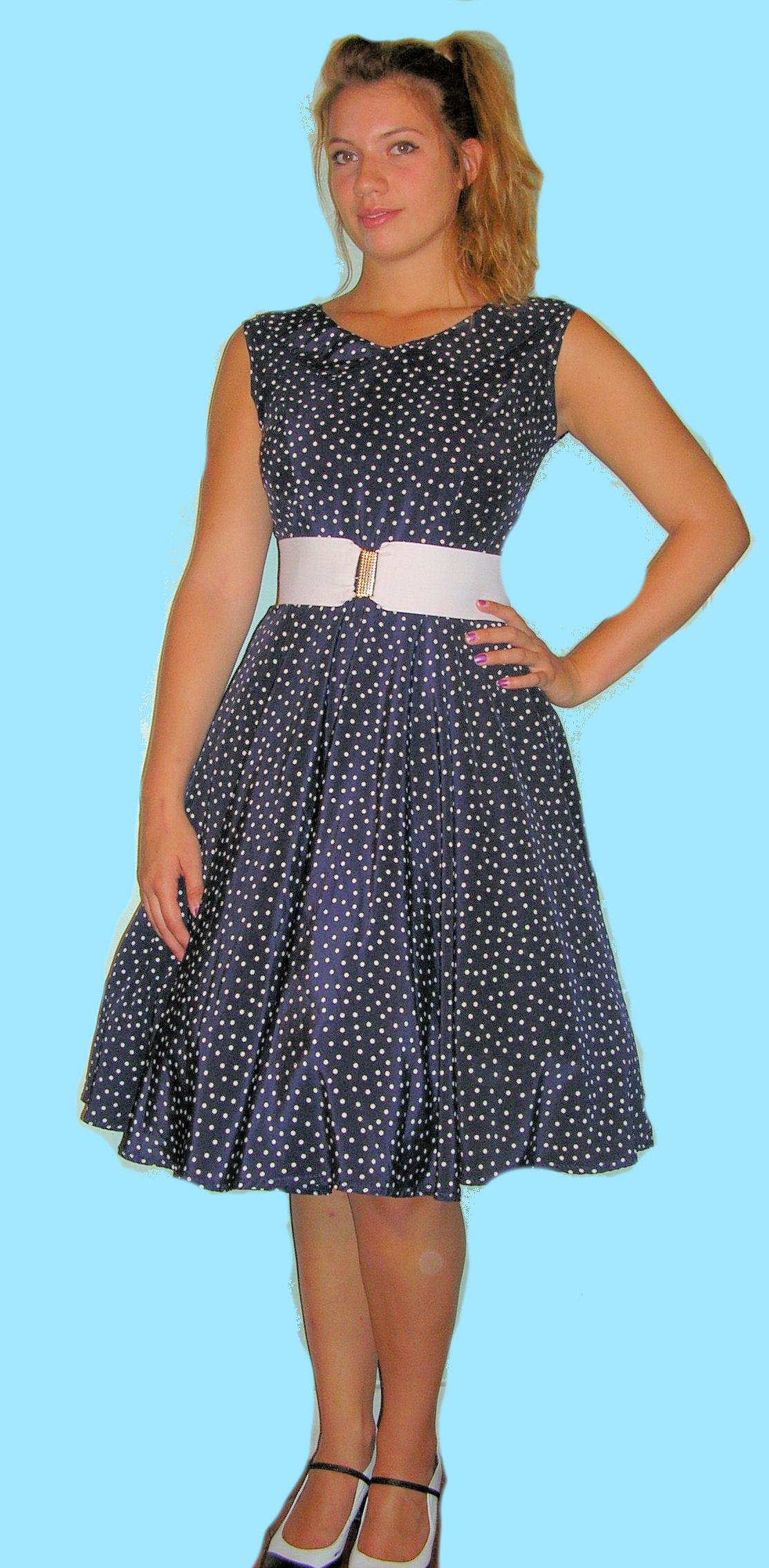 Scoop-neck-50's-Blue-White-Polka-Dot-Dress-S