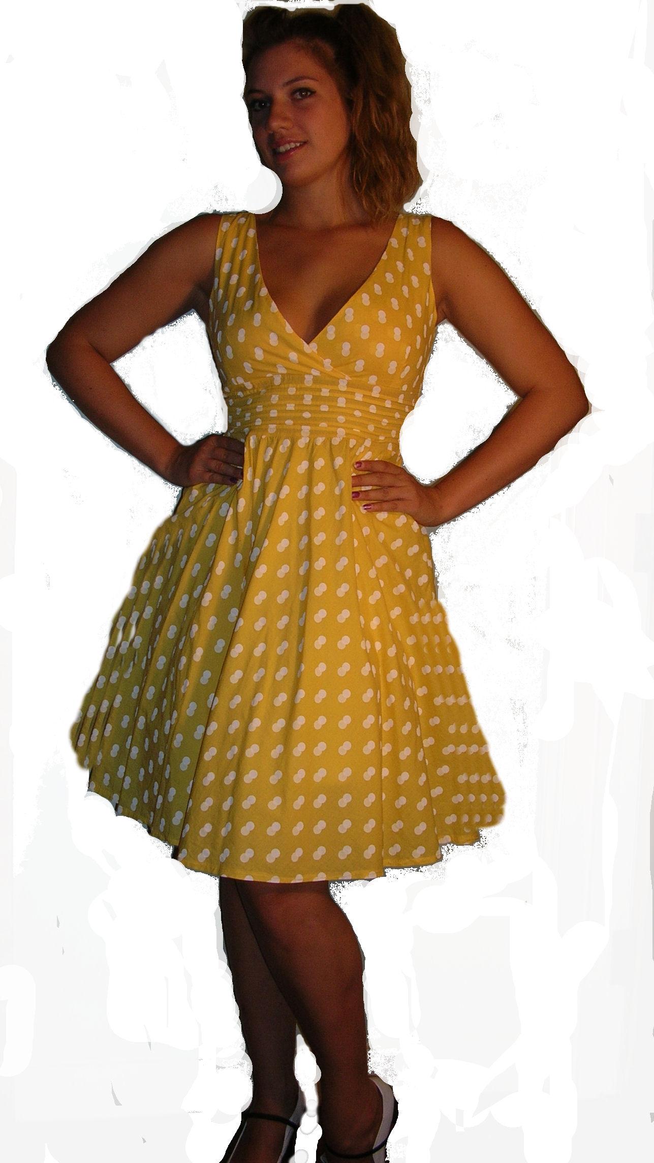 Sunshine-Yellow--White-Polka-Dot-50's-Dress-S