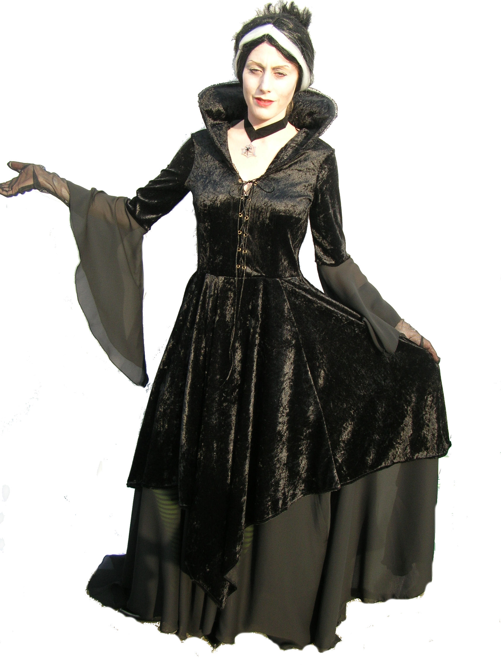 Black-Gothica-Dress-Round-Stand-up-collar