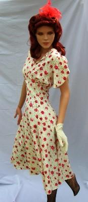 Red-White-flowered-40's-dress