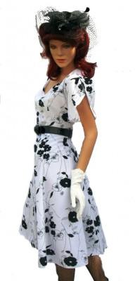 Black-white-flowered-40's-dress