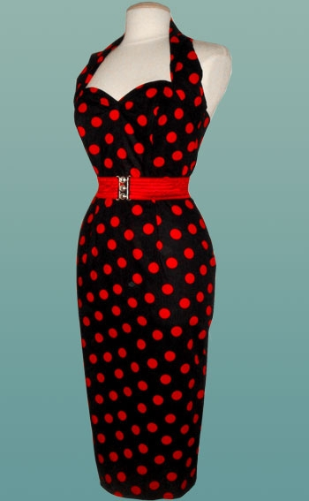 Black-and-Red-Polka-Dot-Halterneck-wiggle-dress