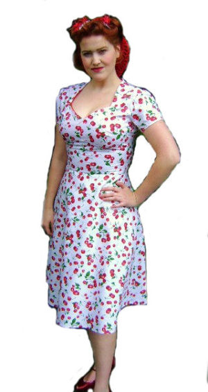 1940's-Cherry-Cocktail-Dress-M-L