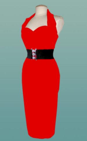 Red-1940's-Halterneck-Pencil-Dress-S-M