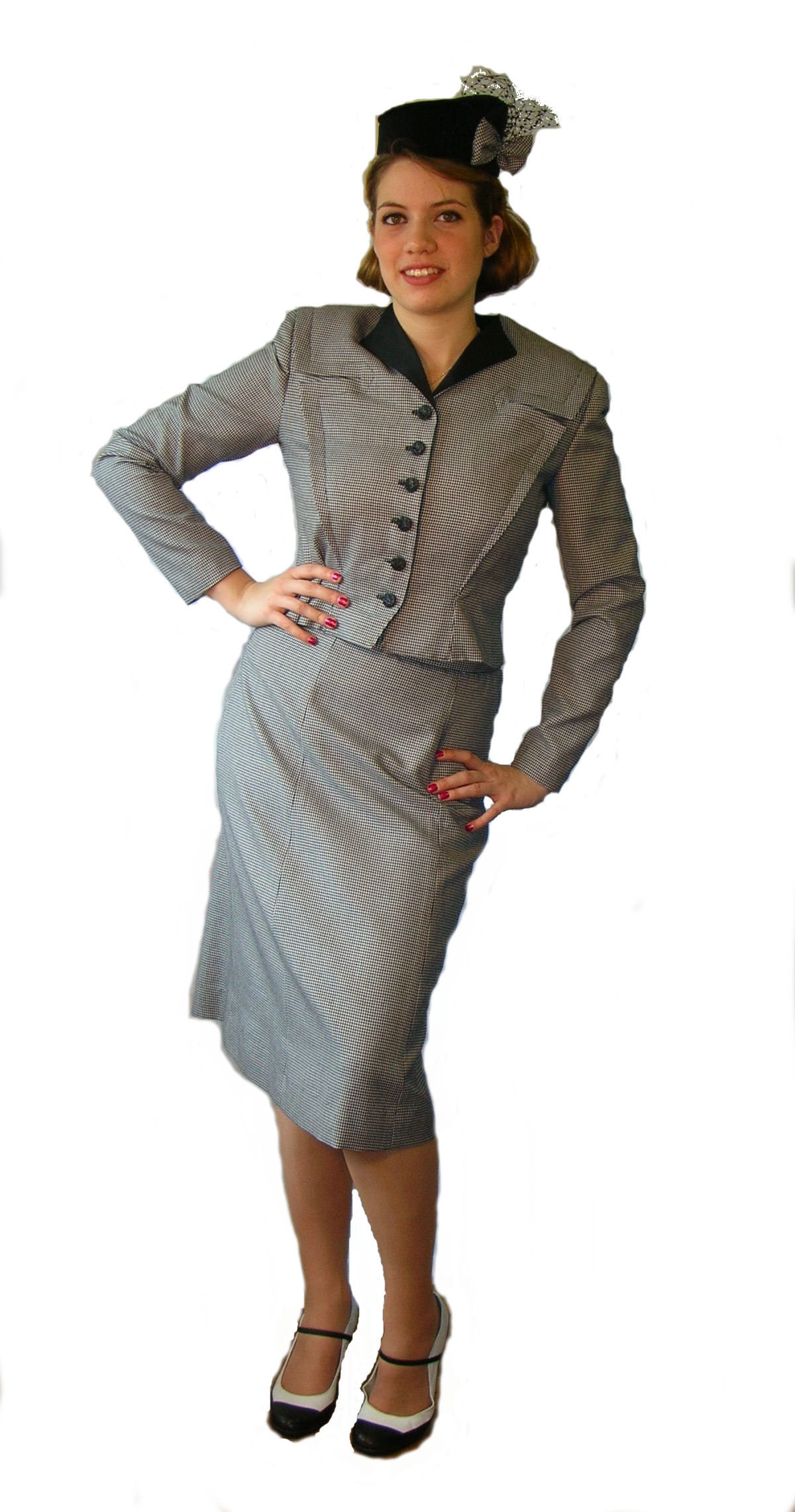 Fitted-Black-Check-1940's-Ladies-Suit