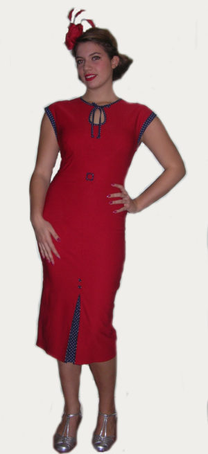 Fabulous-40's-Red-Blue-Polka-Dot-Dress