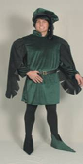 Medieval-Gown-Green-blk-drop-sleeve