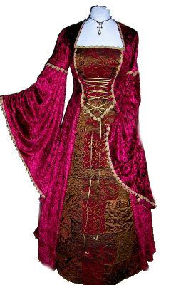 Medieval-Renaissance-Burgundy-Gown