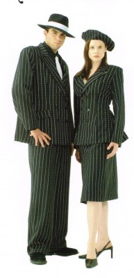 Bonnie Gangster Costume Ladies Pinstripe Suit Black White