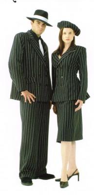 Bonnie Gangster Costume Ladies Pinstripe Suit Black White
