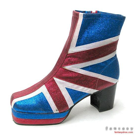 Union Jack Glitter Platform Boots Mens, 70's Platform Boots