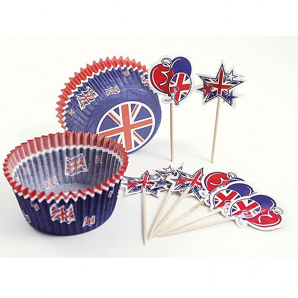 Union Jack cup cake cases and decorating set 48 Pieces