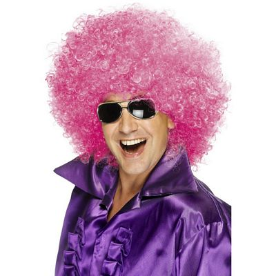 Pink Afro Wig, Jumbo 70s Light Pink Afro Wig Adult Unisex