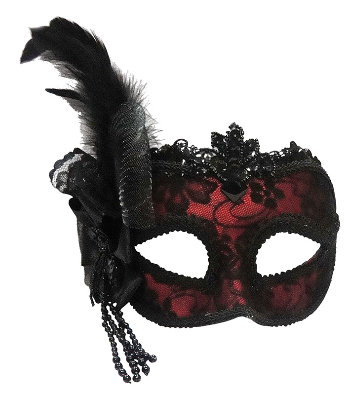 Red Side Feather Venetian Mask