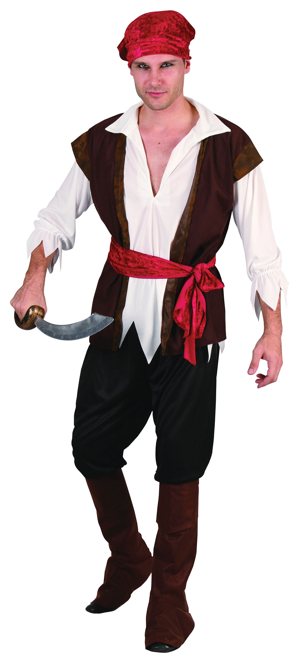Pirate Man Costume with Brown Waistcoat, Pirate Fancy Dress