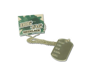 Army Dog Tag Necklace, Military ID Tag, Fancy Dress Accessory