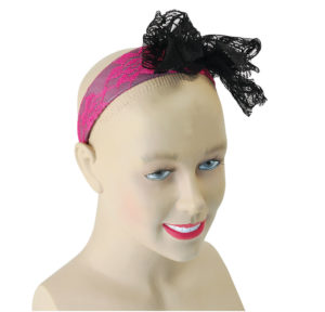 80's Neon Lace Headband in Pink