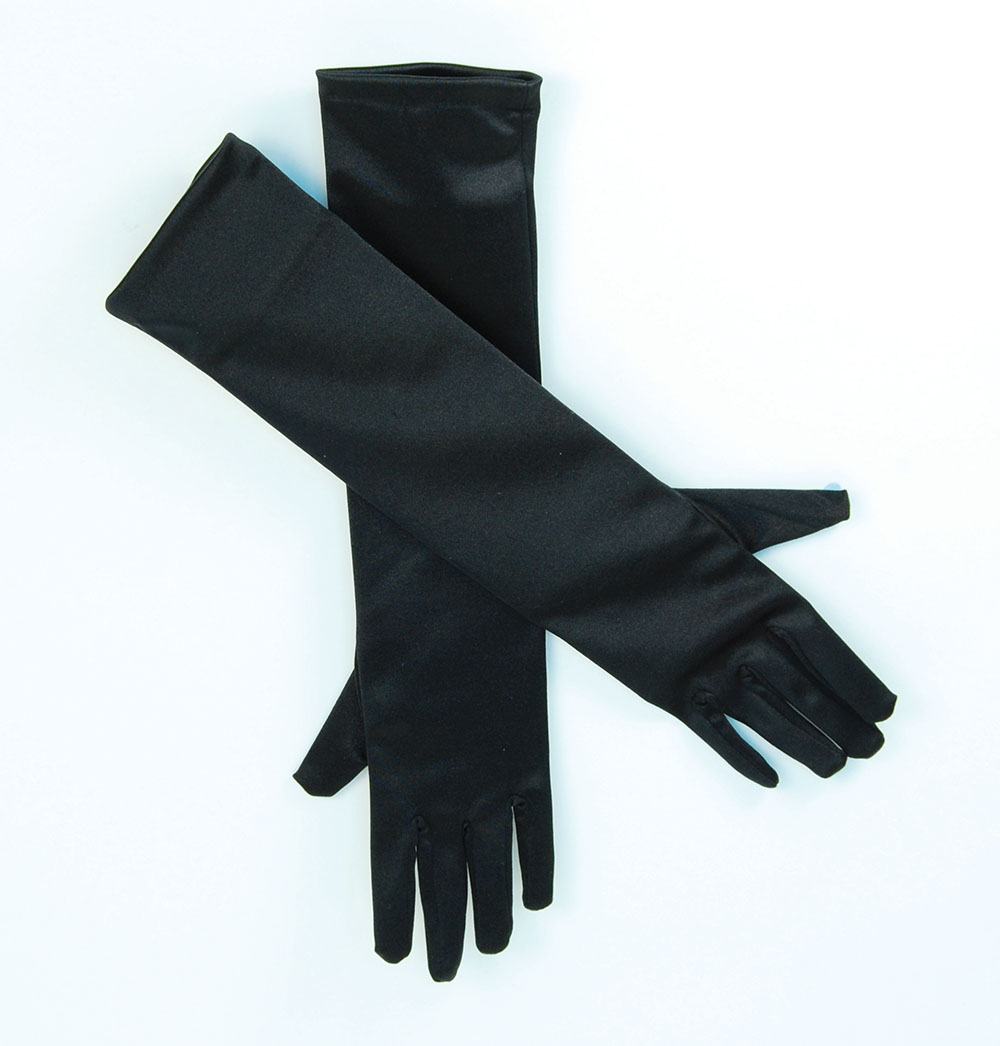 Black Satin Gloves, Long black gloves, evening gloves