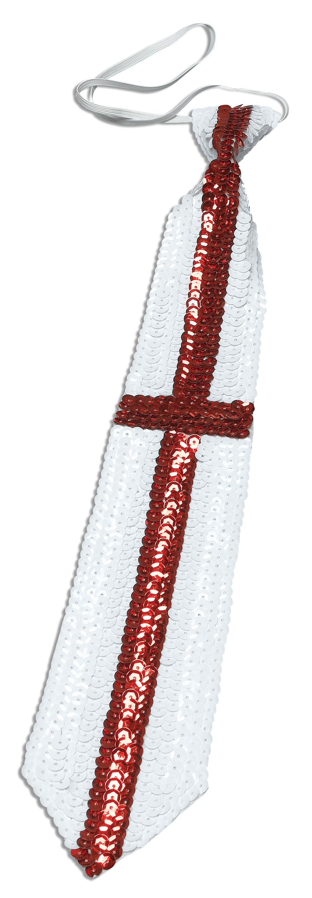 Adult St George Sequin Tie England Fancy Dress Accessory