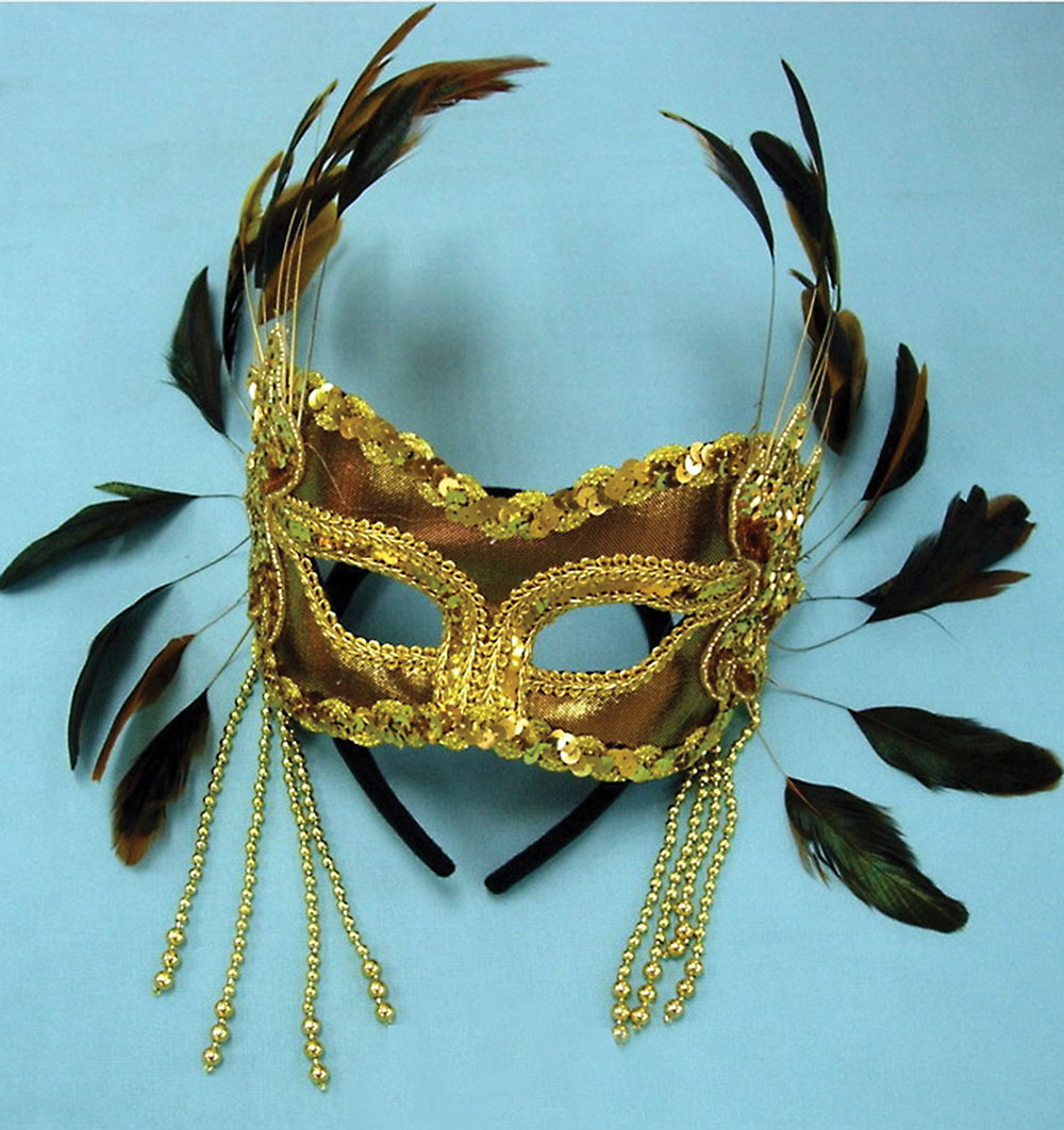 Gold Velvet Mask with Feathers on Head Band