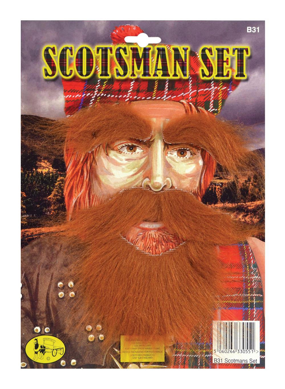 Scotsman Set, Ginger fake Moustache Beard Eyebrows