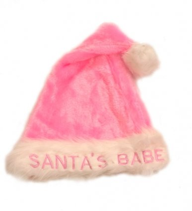 Pink Santa Hat, Plush Santa Baby Ladies Christmas Hat