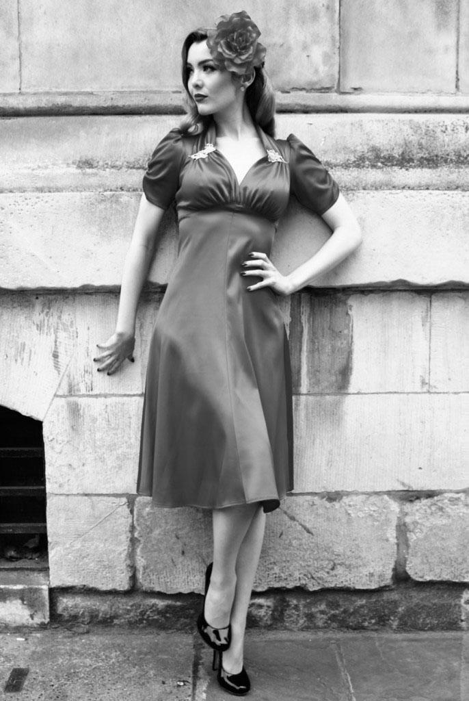 Tara Starlet 1940s 40s Style: Starlet Satin Pewter 40's Dress