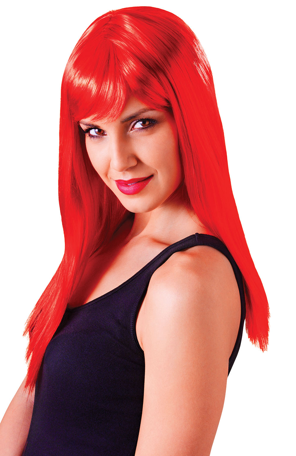 Red Long Wig, Ladies Straight Coloured Glamour Wig