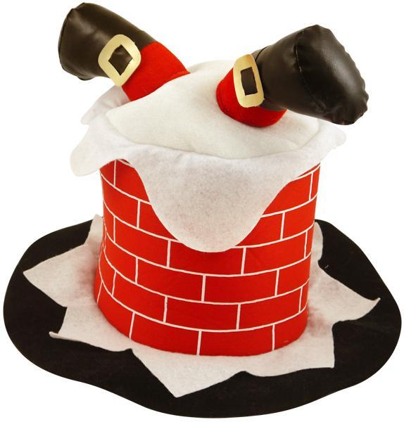 Novelty Christmas Hat: Santa's Down the Chimney One Size