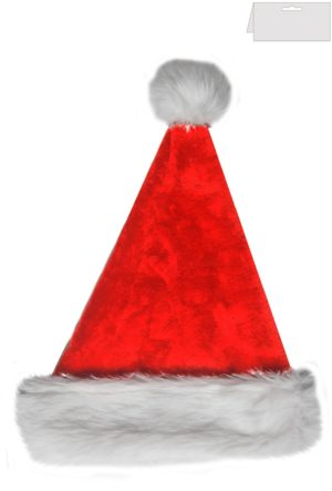 Plush Santa Hat with Fur Trim Deluxe Father Christmas Hat