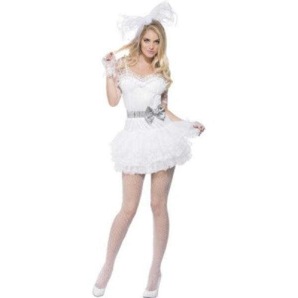 80s fancy dress; 22817 ...  sc 1 st  Mad Hatter Fancy Dress & White 80s Ladies Fancy Dress -