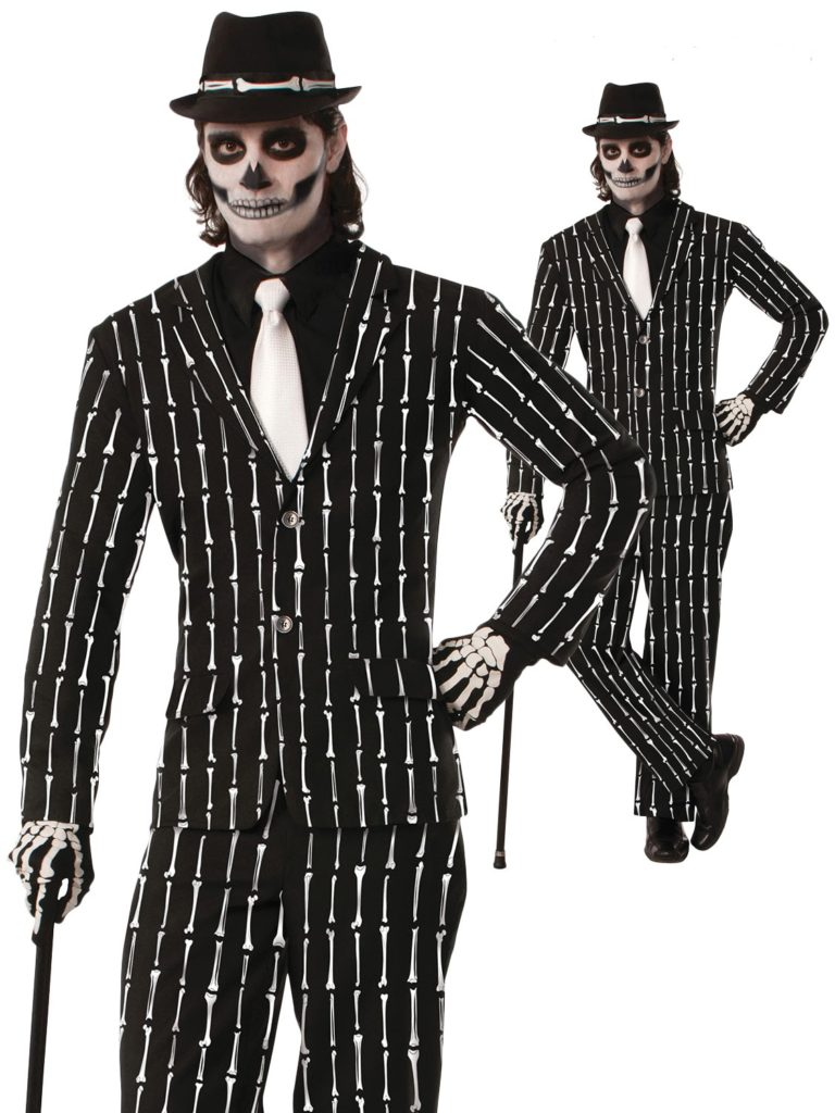 Day of the Dead Suit Pinstripe Bone Suit