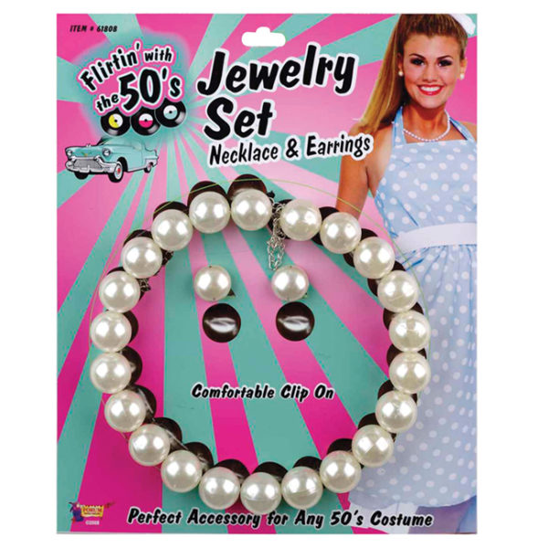 50s Pearl Necklace and Earring Set Fancy Dress Jewellery