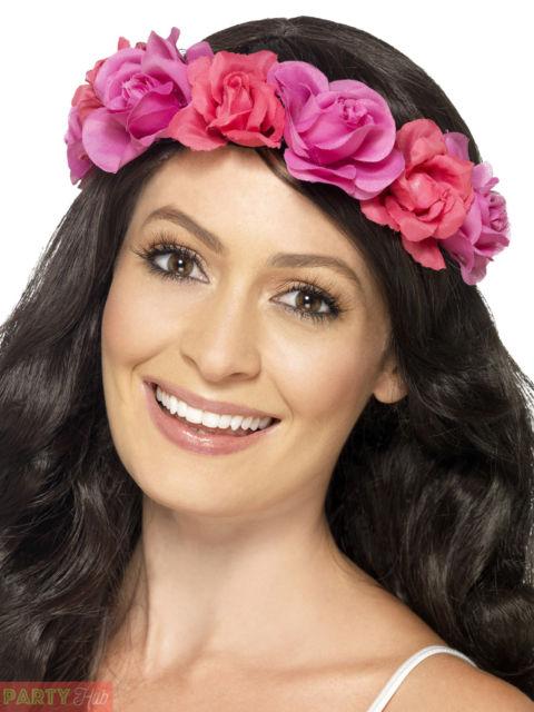 Hawaiian Fancy Dress Floral Headband Pink