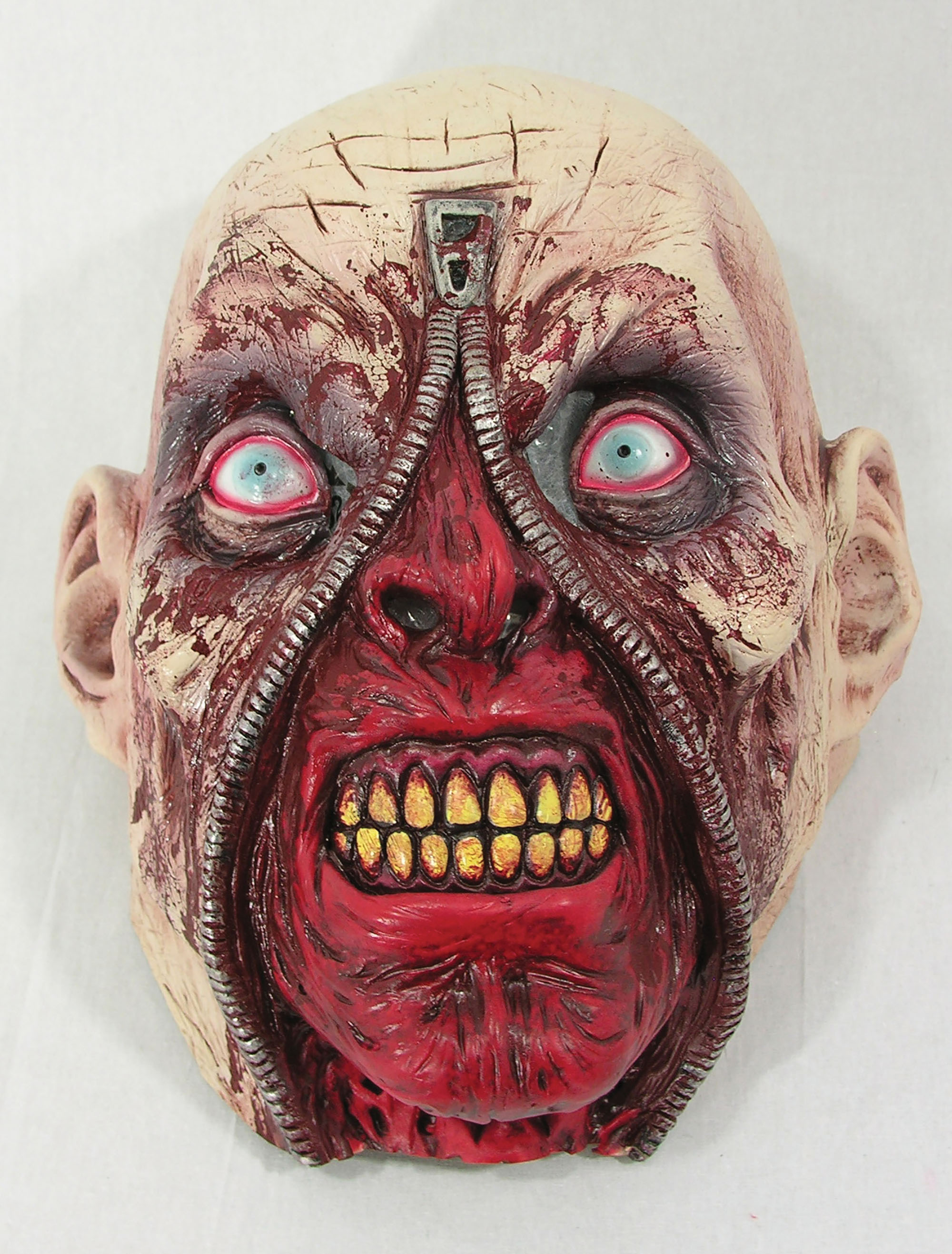 Zipper Head Overhead Rubber Mask, Bloody Face Halloween