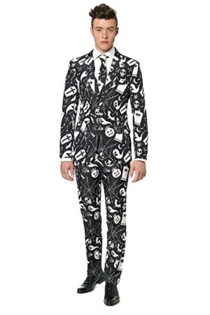 Black Halloween Suit Ghosts Ghouls and Spider webs