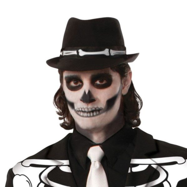 Skeleton Fedora Day of The Dead Hat