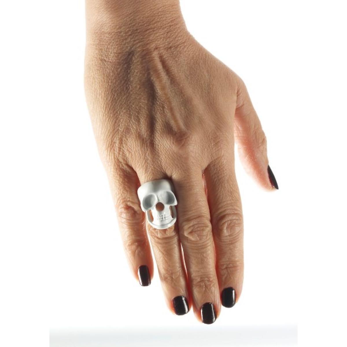 Skeleton Skull Ring Bone White